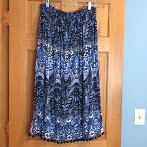 J. Jill boho skirt w/fringe, great condition!